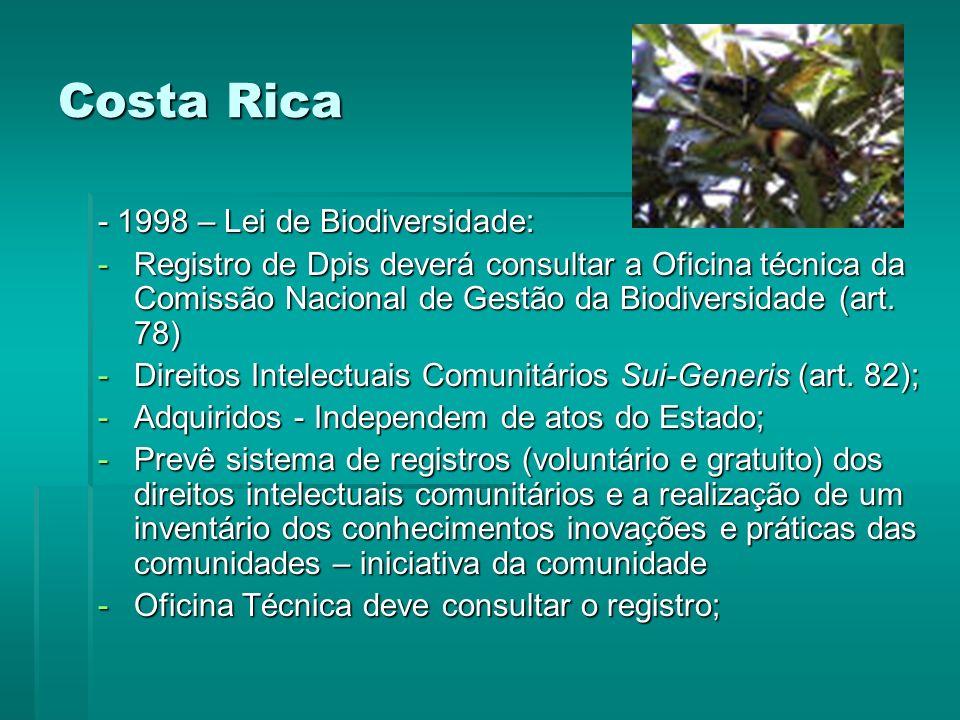 Costa Rica - 1998 – Lei de Biodiversidade: