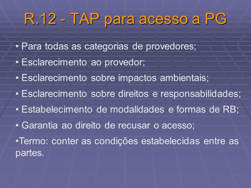 R.12 - TAP para acesso a PG Para todas as categorias de provedores;