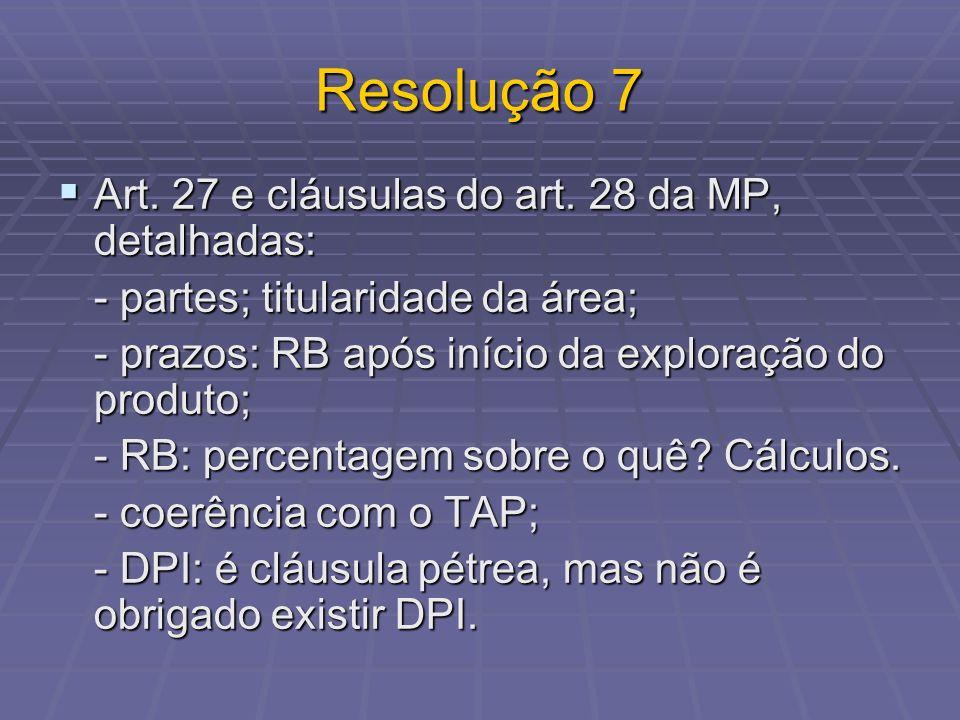 Resolução 7 Art. 27 e cláusulas do art. 28 da MP, detalhadas: