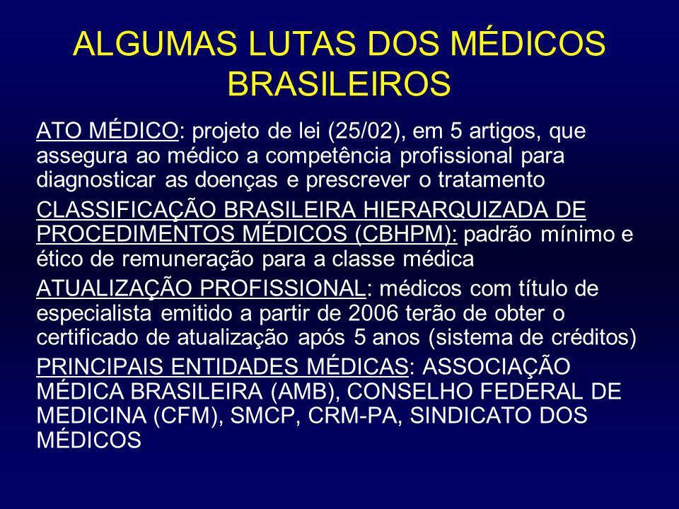 ALGUMAS LUTAS DOS MÉDICOS BRASILEIROS