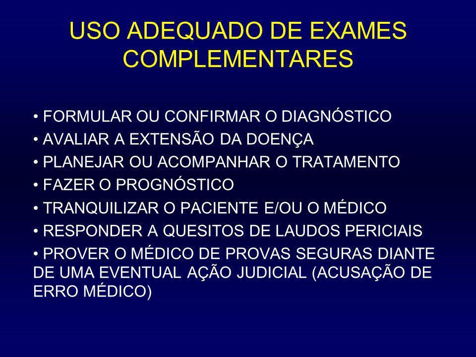 USO ADEQUADO DE EXAMES COMPLEMENTARES