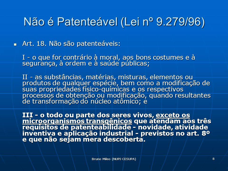 Não é Patenteável (Lei nº 9.279/96)