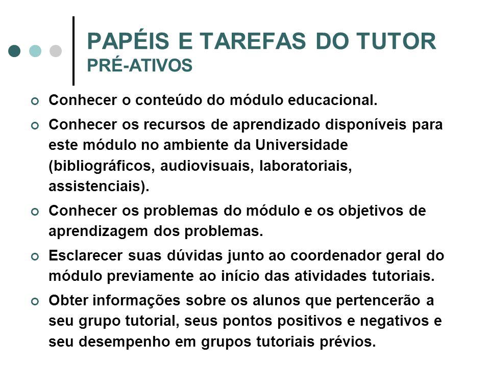 PAPÉIS E TAREFAS DO TUTOR PRÉ-ATIVOS