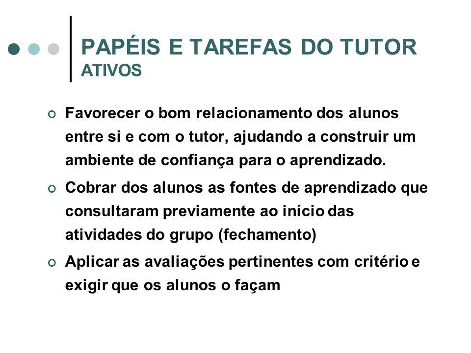 PAPÉIS E TAREFAS DO TUTOR ATIVOS