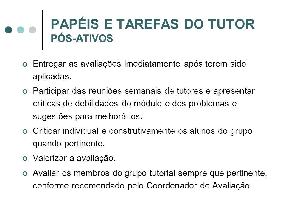 PAPÉIS E TAREFAS DO TUTOR PÓS-ATIVOS