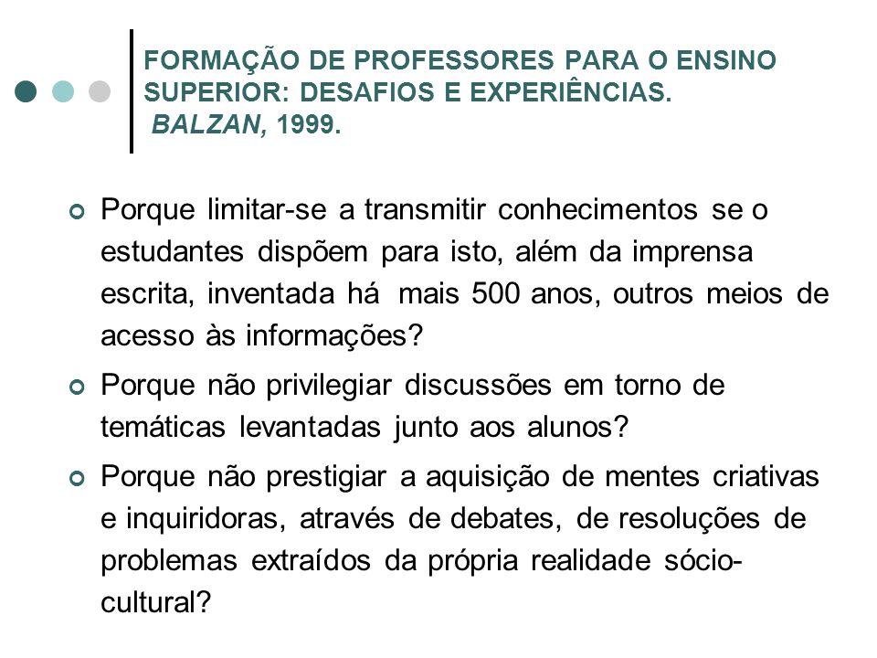 FORMAÇÃO DE PROFESSORES PARA O ENSINO SUPERIOR: DESAFIOS E EXPERIÊNCIAS. BALZAN, 1999.