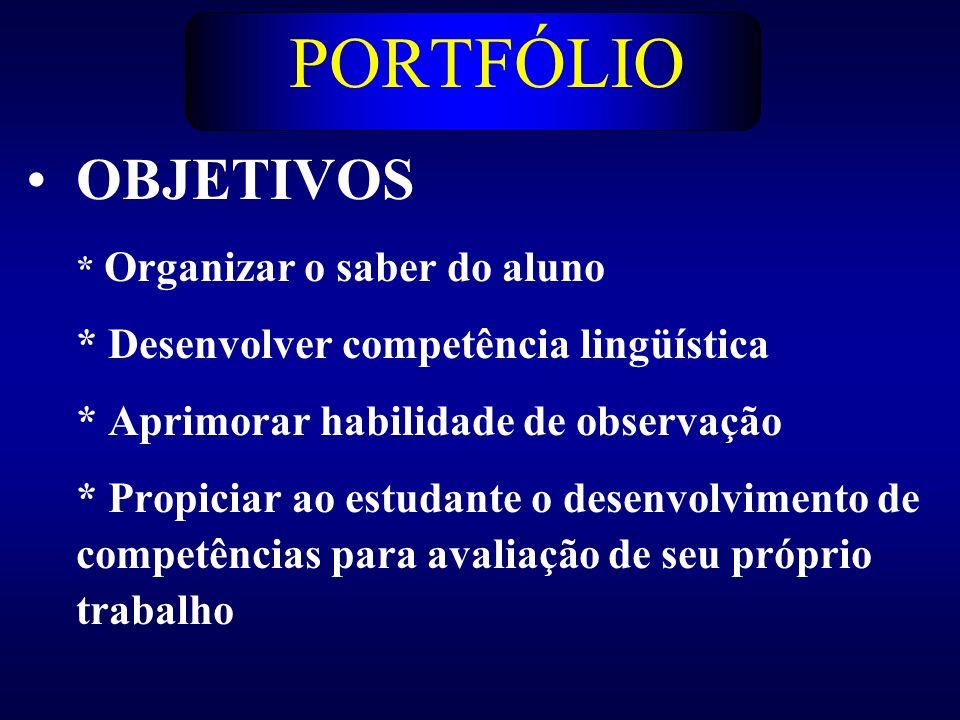 PORTFÓLIO OBJETIVOS * Desenvolver competência lingüística