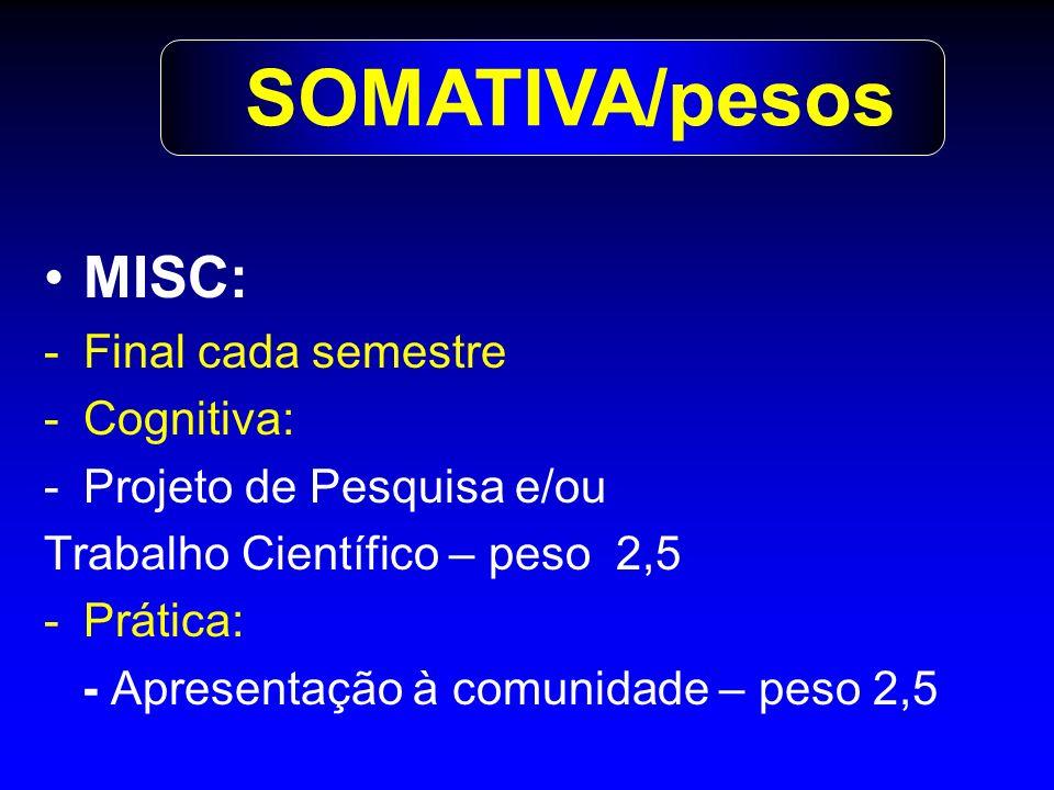 SOMATIVA/pesos MISC: Final cada semestre Cognitiva: