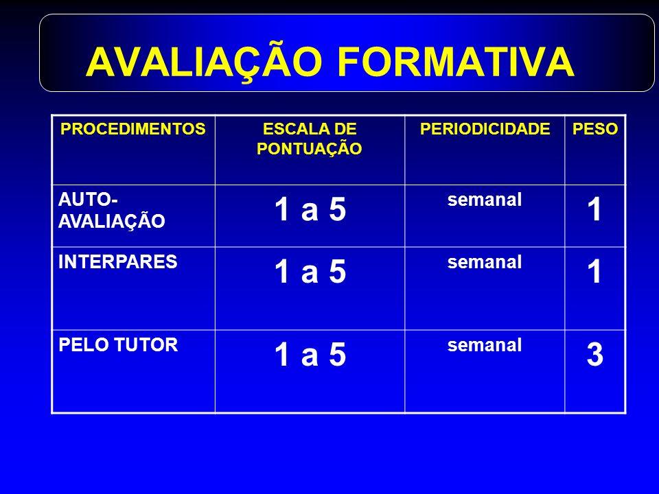 AVALIAÇÃO FORMATIVA 1 a 5 1 3 AUTO-AVALIAÇÃO semanal INTERPARES