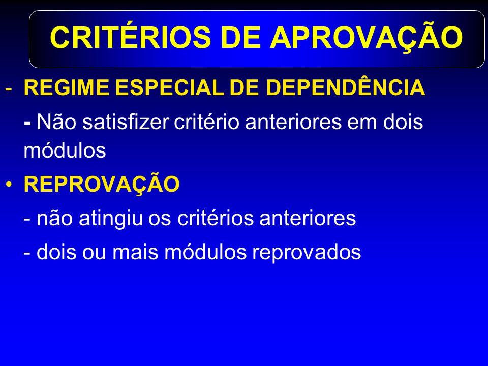 CRITÉRIOS DE APROVAÇÃO