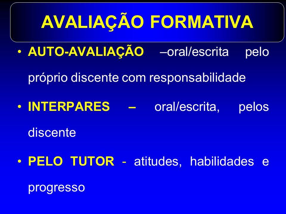 AVALIAÇÃO FORMATIVA AUTO-AVALIAÇÃO –oral/escrita pelo próprio discente com responsabilidade. INTERPARES – oral/escrita, pelos discente.
