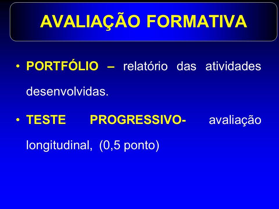 AVALIAÇÃO FORMATIVA PORTFÓLIO – relatório das atividades desenvolvidas.