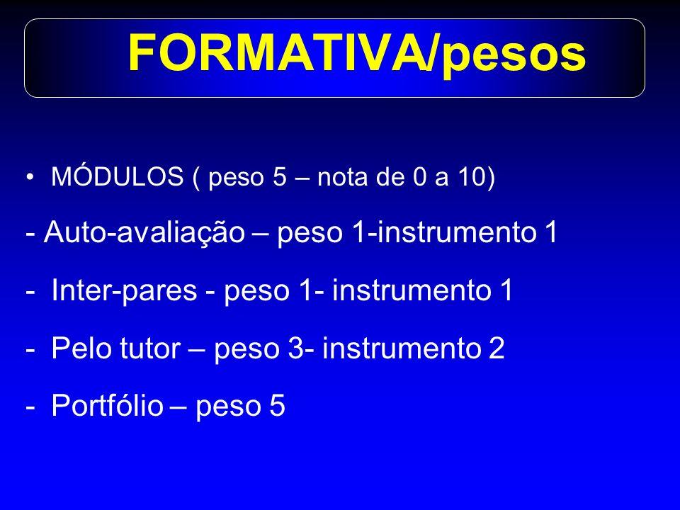 FORMATIVA/pesos - Auto-avaliação – peso 1-instrumento 1