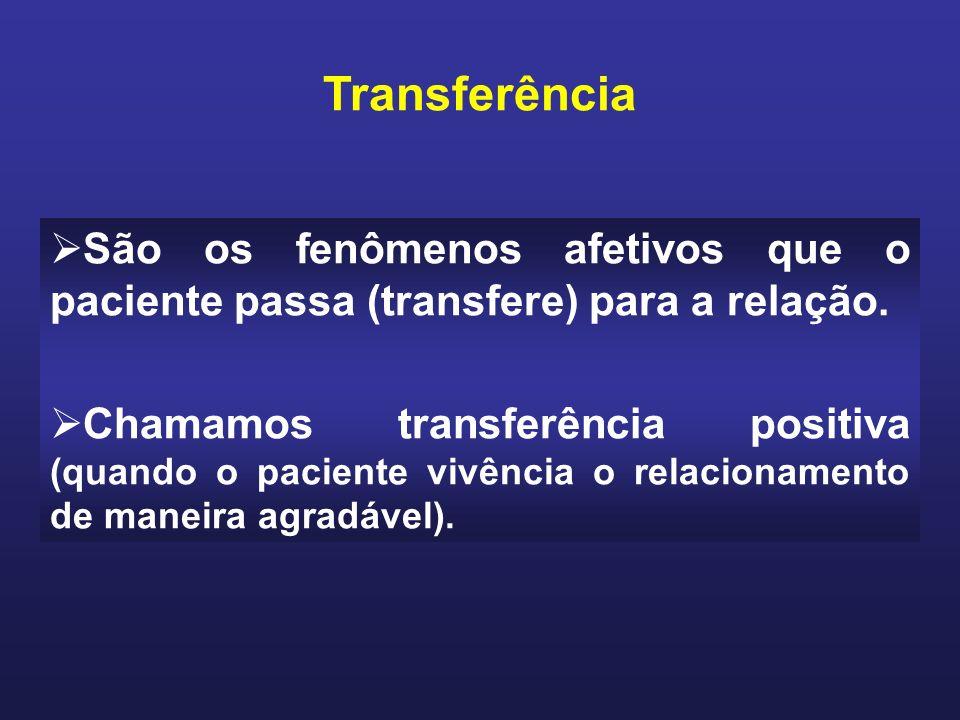 Transferência São os fenômenos afetivos que o paciente passa (transfere) para a relação.