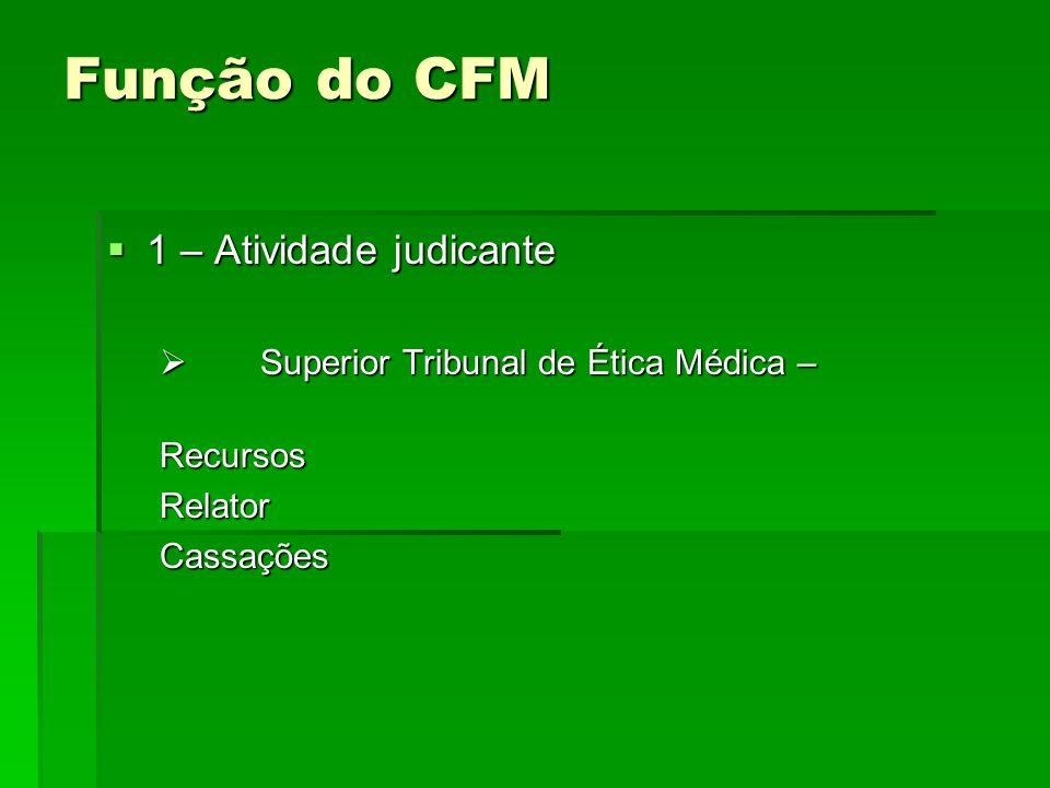 Função do CFM 1 – Atividade judicante