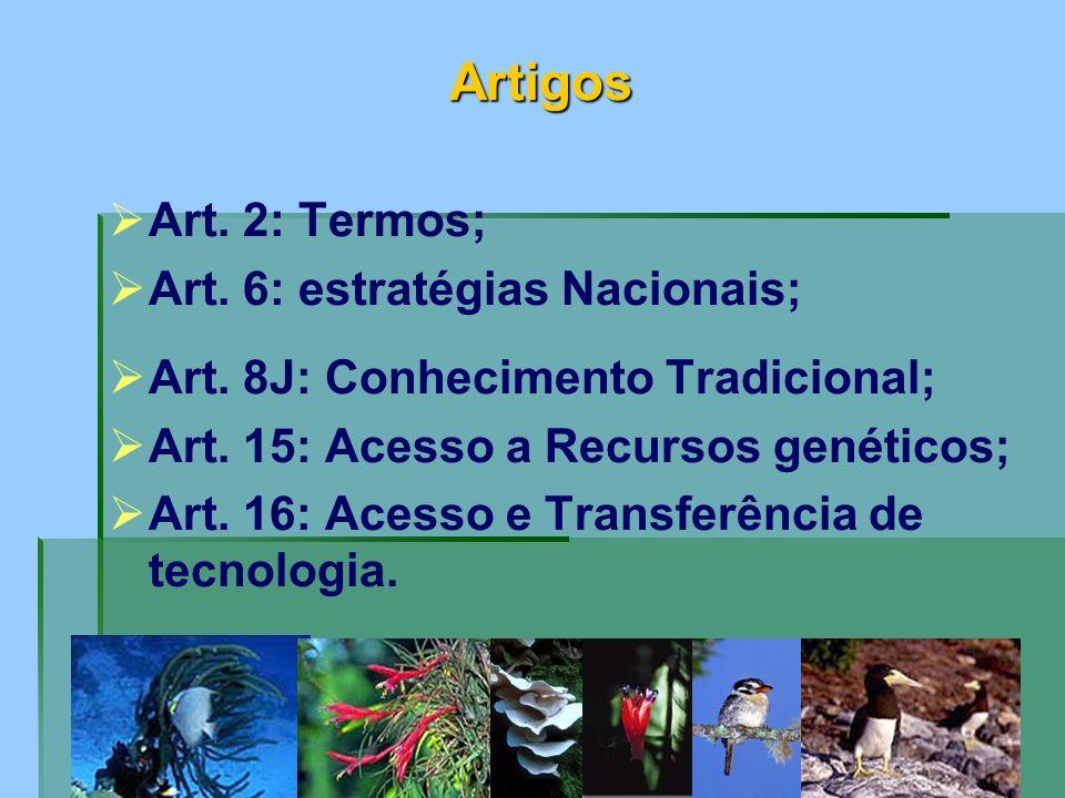 Artigos Art. 2: Termos; Art. 6: estratégias Nacionais;