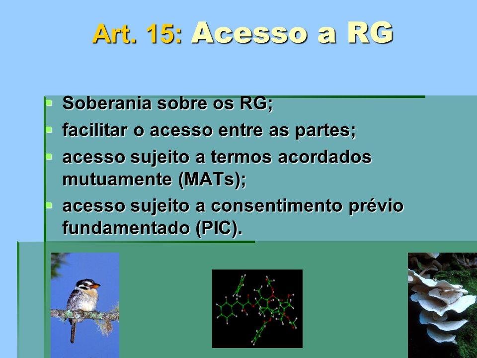 Art. 15: Acesso a RG Soberania sobre os RG;
