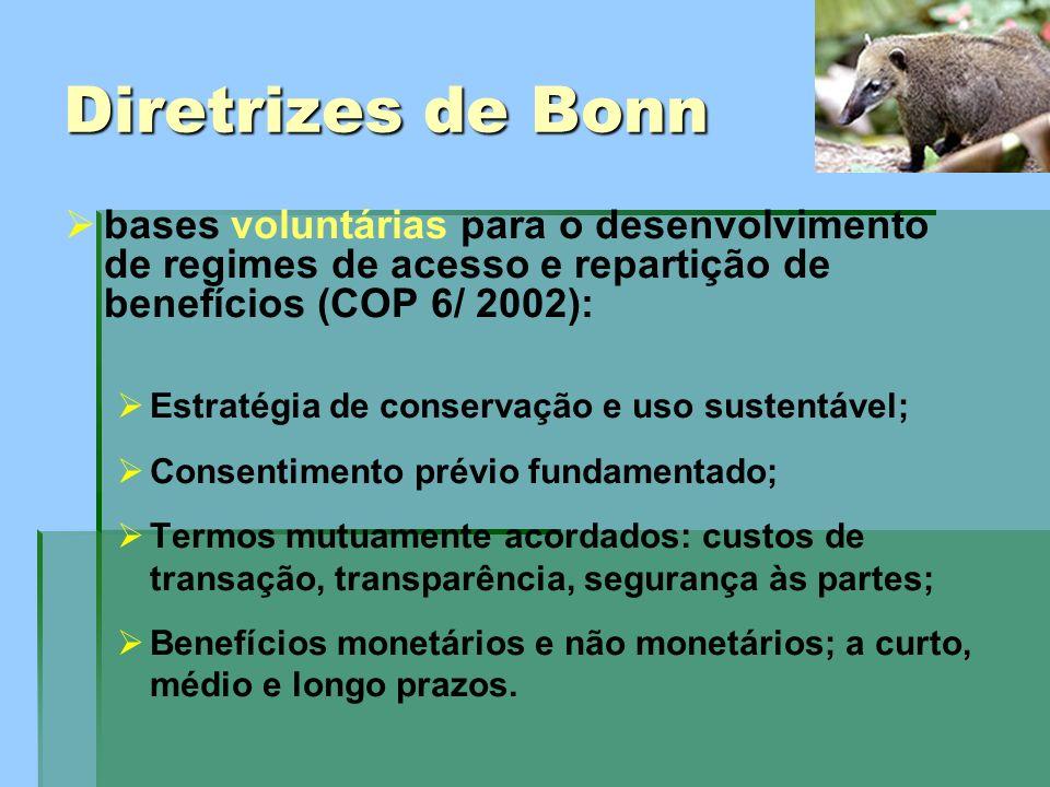 Diretrizes de Bonn bases voluntárias para o desenvolvimento de regimes de acesso e repartição de benefícios (COP 6/ 2002):