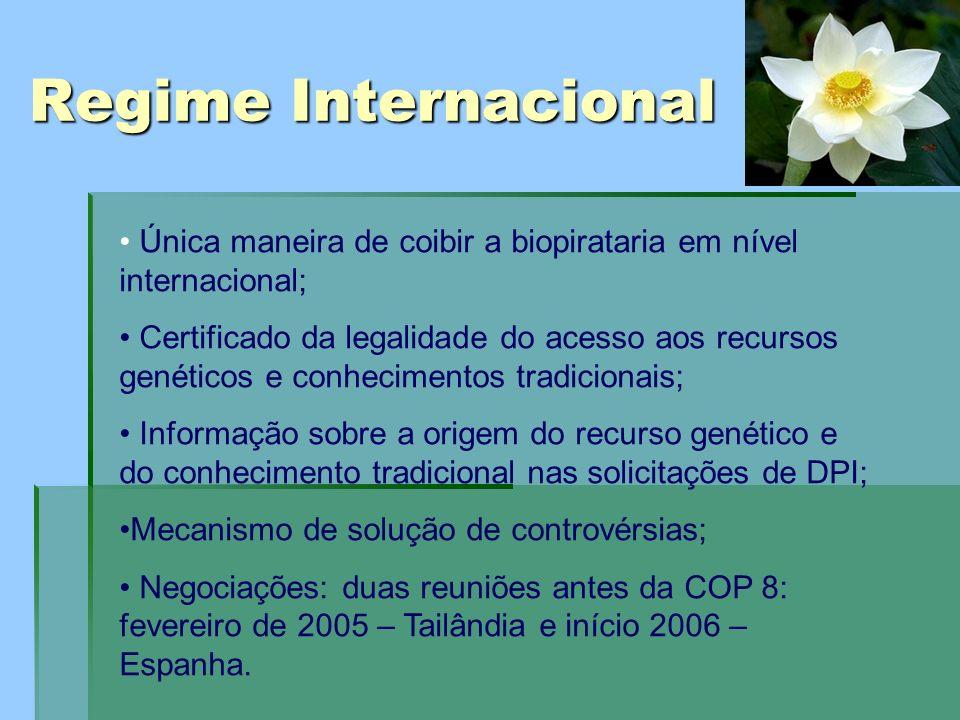 Regime Internacional Única maneira de coibir a biopirataria em nível internacional;