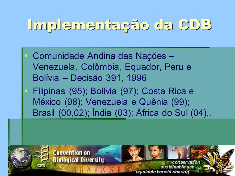Implementação da CDB Comunidade Andina das Nações – Venezuela, Colômbia, Equador, Peru e Bolívia – Decisão 391, 1996.