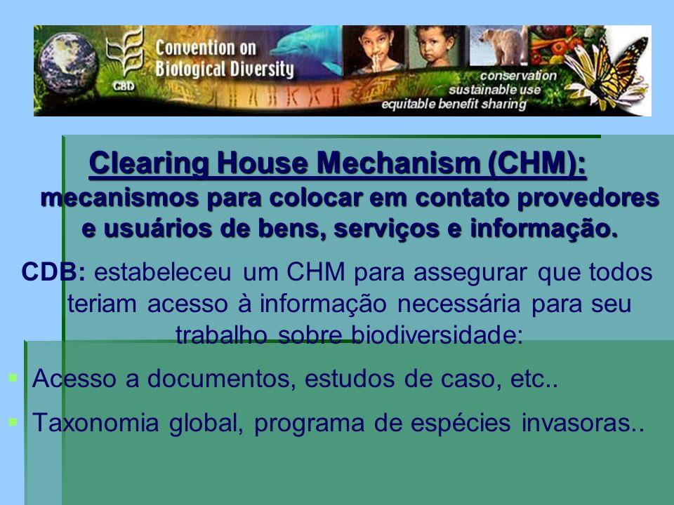 Clearing House Mechanism (CHM): mecanismos para colocar em contato provedores e usuários de bens, serviços e informação.