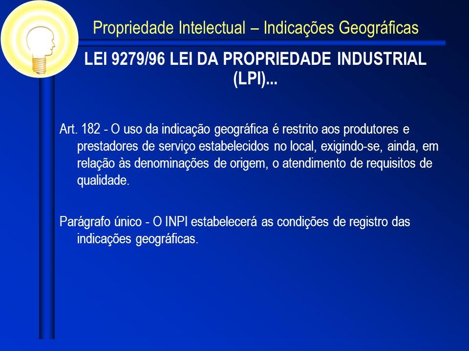 LEI 9279/96 LEI DA PROPRIEDADE INDUSTRIAL (LPI)...