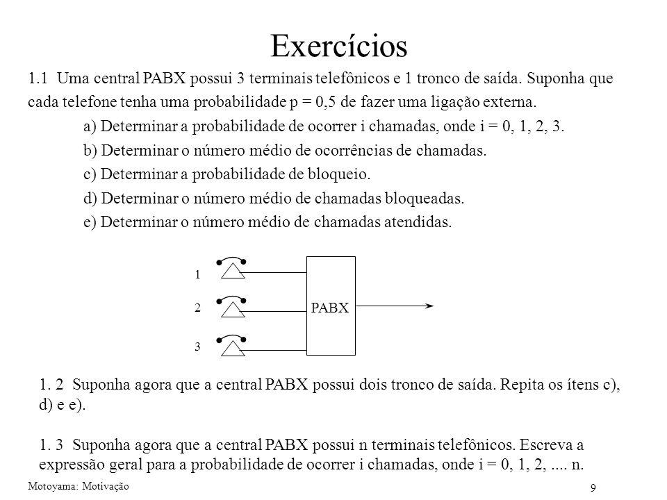 Exercícios 1.1 Uma central PABX possui 3 terminais telefônicos e 1 tronco de saída. Suponha que.