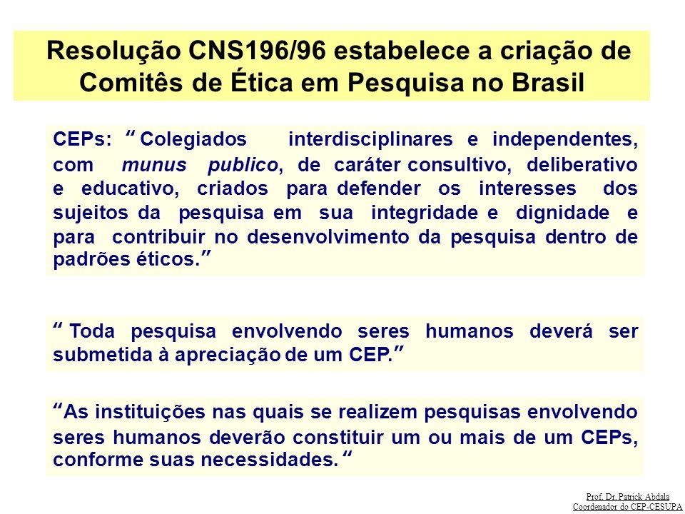 Resolução CNS196/96 estabelece a criação de Comitês de Ética em Pesquisa no Brasil