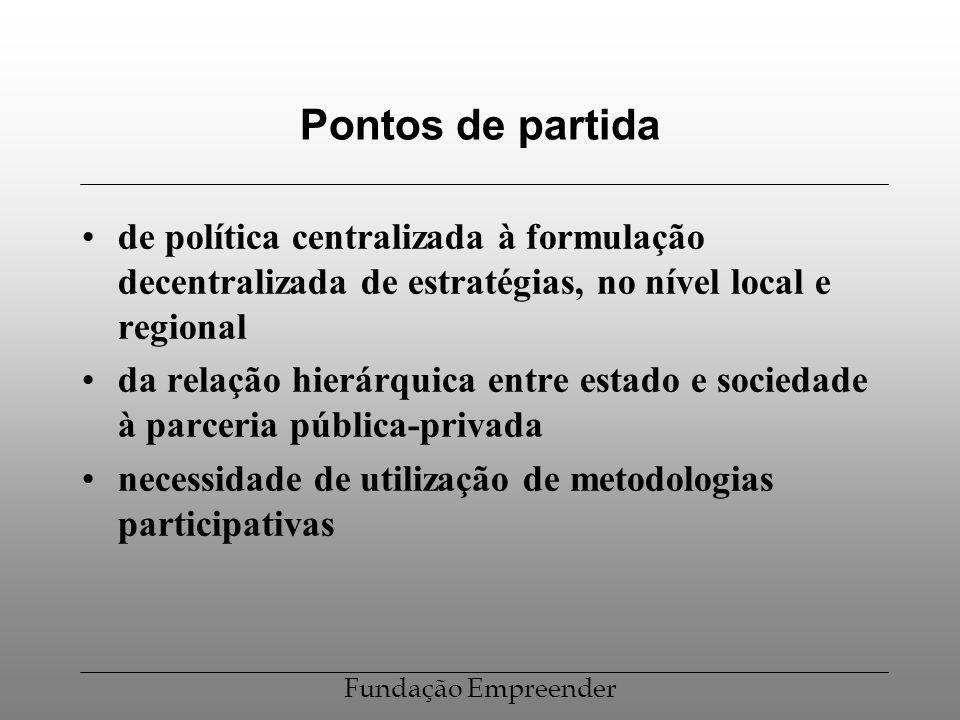 Pontos de partida de política centralizada à formulação decentralizada de estratégias, no nível local e regional.