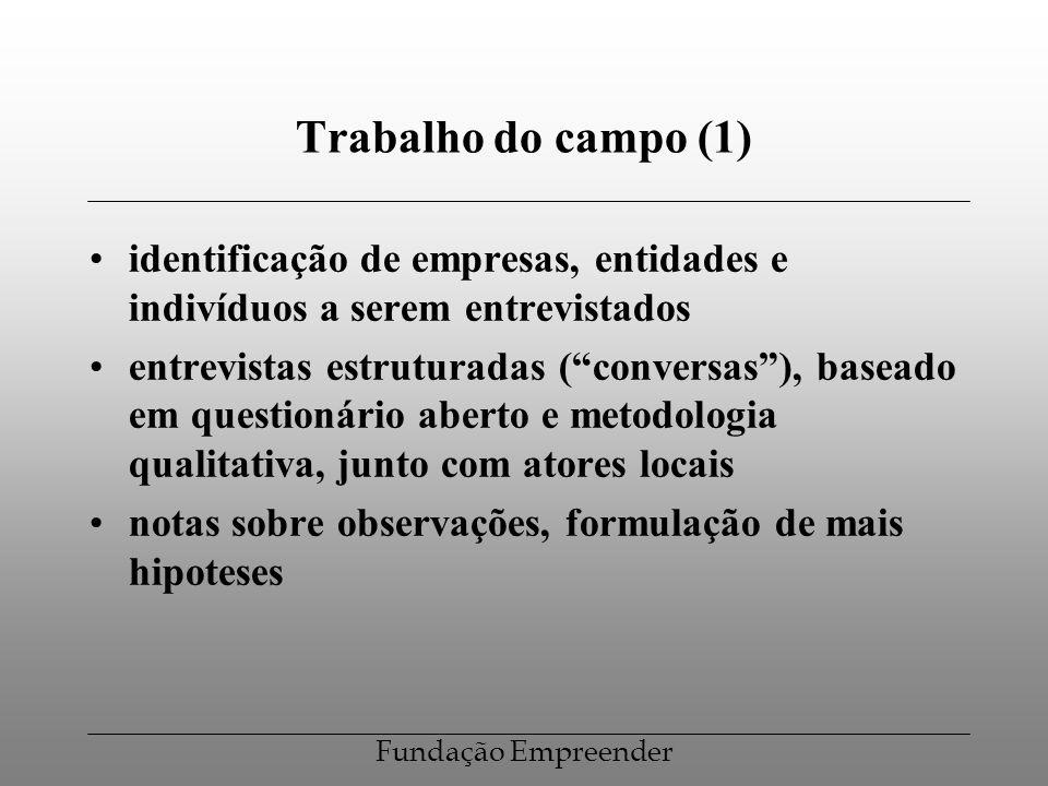 Trabalho do campo (1) identificação de empresas, entidades e indivíduos a serem entrevistados.