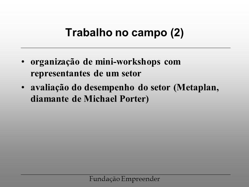 Trabalho no campo (2) organização de mini-workshops com representantes de um setor.