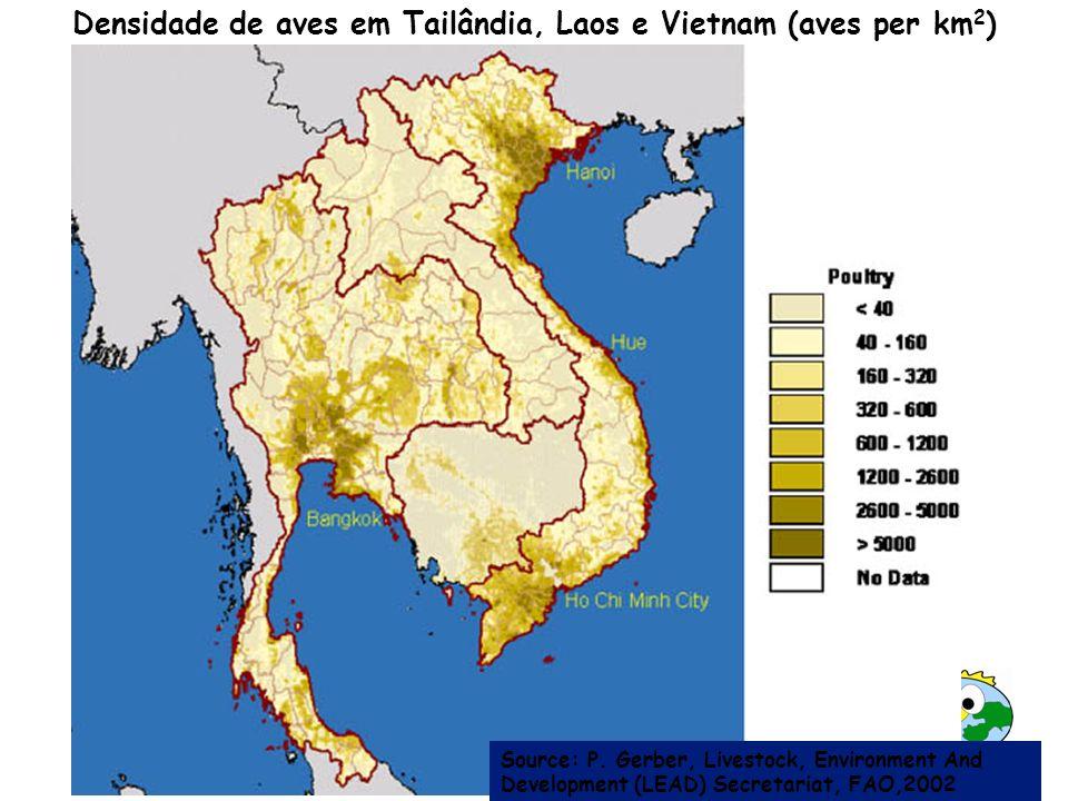 Densidade de aves em Tailândia, Laos e Vietnam (aves per km2)