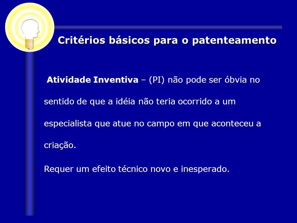 Critérios básicos para o patenteamento