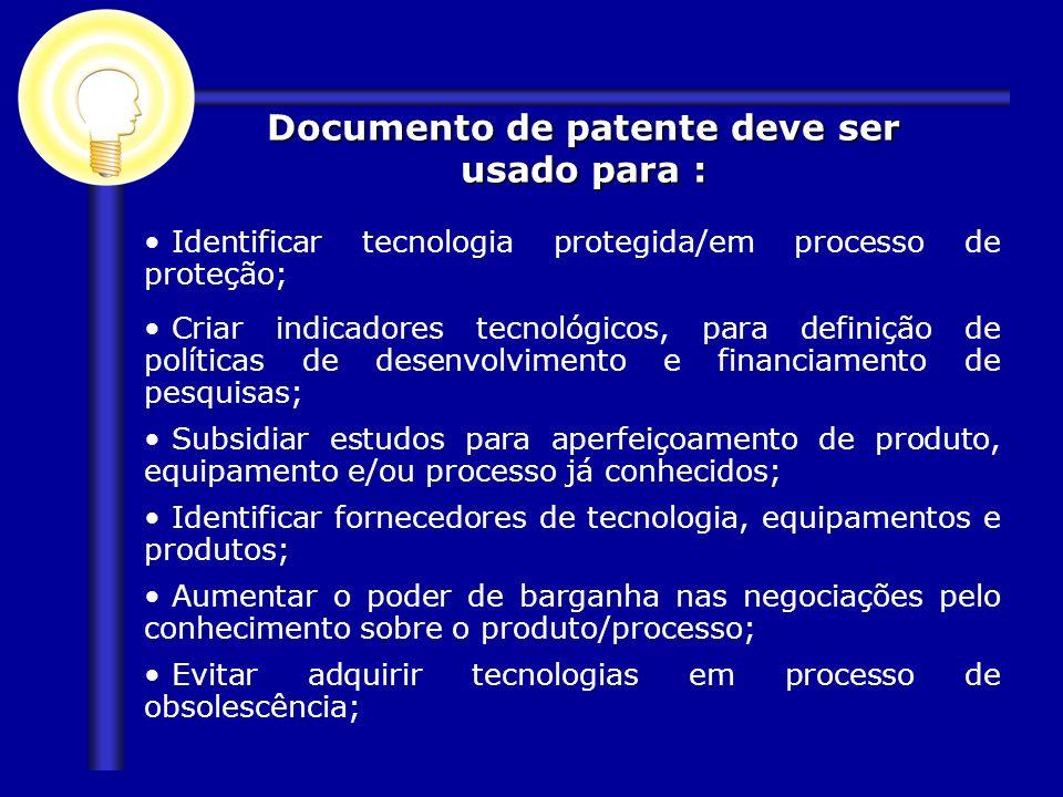 Documento de patente deve ser usado para :