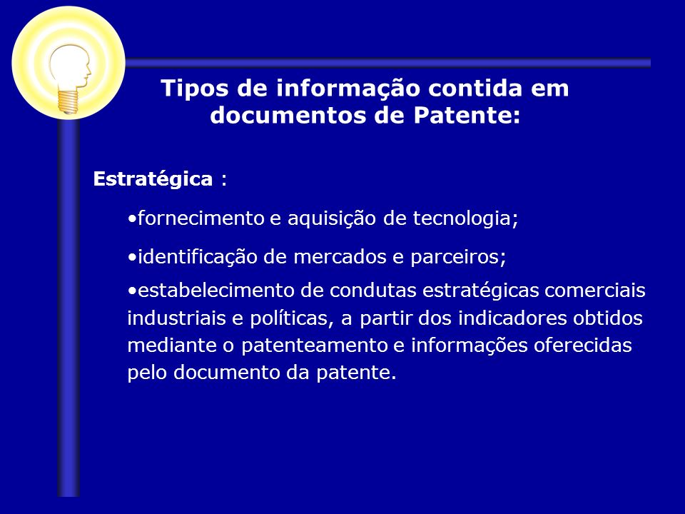 Tipos de informação contida em documentos de Patente: