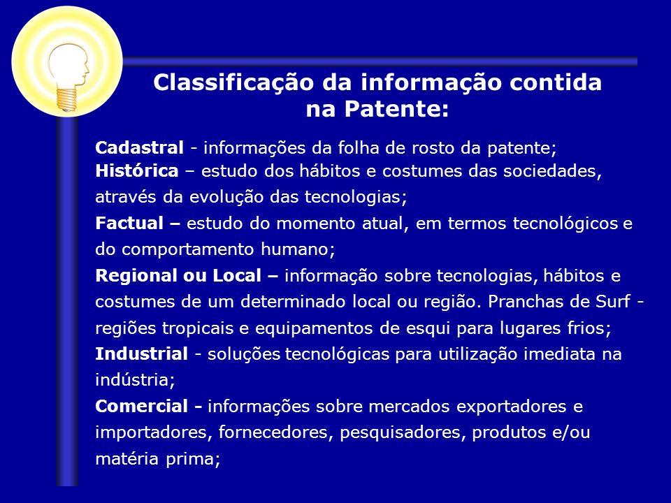 Classificação da informação contida na Patente: