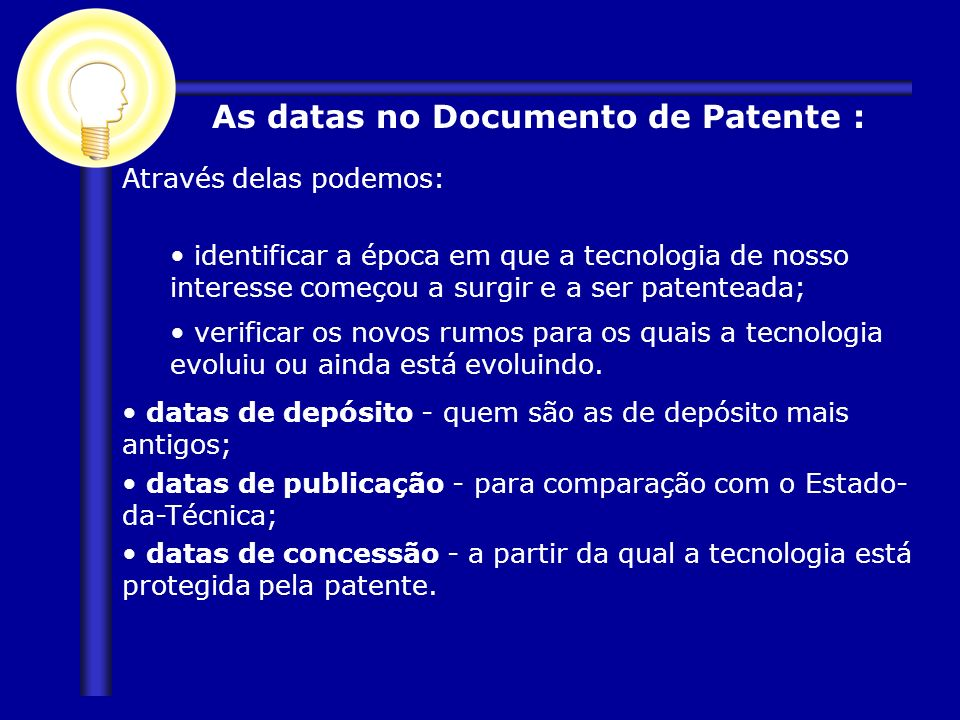 As datas no Documento de Patente :
