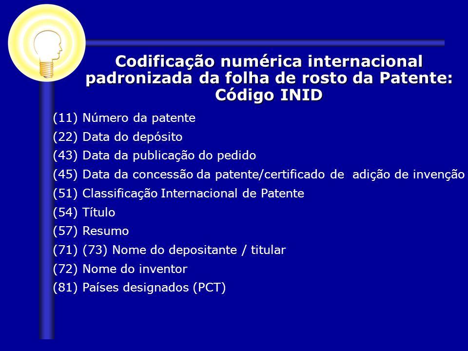 Codificação numérica internacional padronizada da folha de rosto da Patente: Código INID