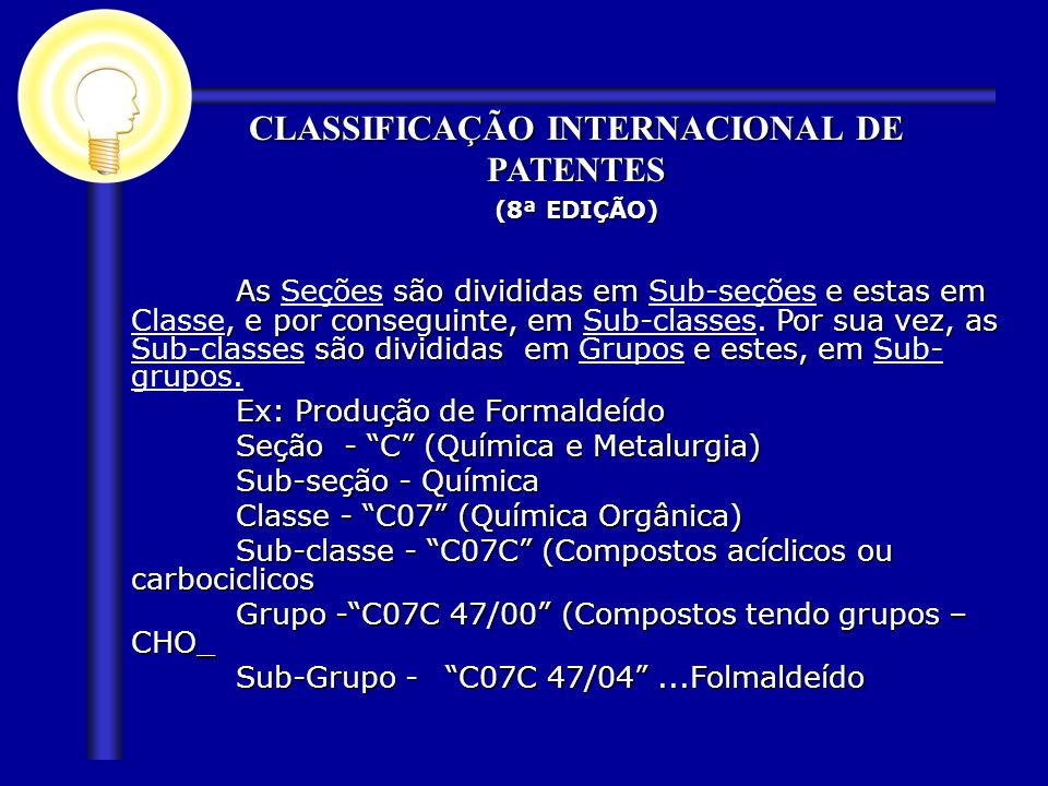 CLASSIFICAÇÃO INTERNACIONAL DE PATENTES