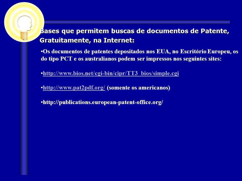 Bases que permitem buscas de documentos de Patente,