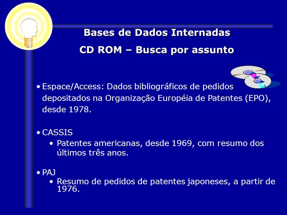 Bases de Dados Internadas CD ROM – Busca por assunto