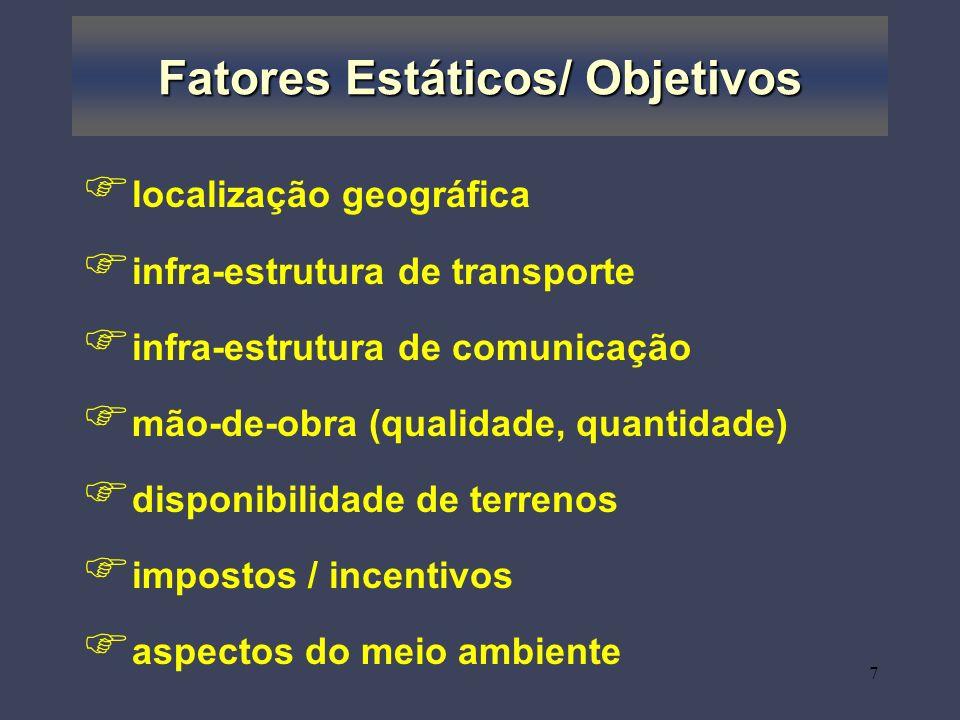 Fatores Estáticos/ Objetivos