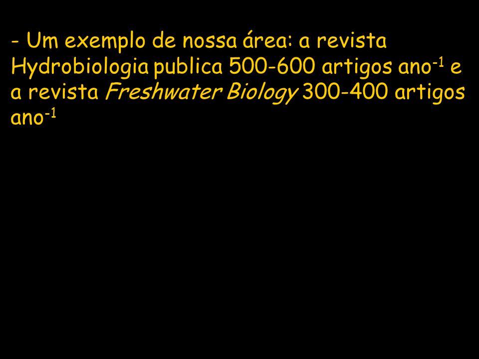 - Um exemplo de nossa área: a revista Hydrobiologia publica 500-600 artigos ano-1 e a revista Freshwater Biology 300-400 artigos ano-1
