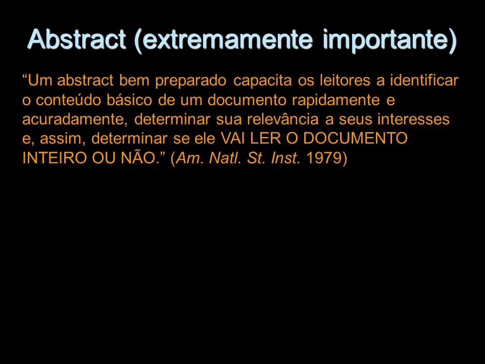 Abstract (extremamente importante)