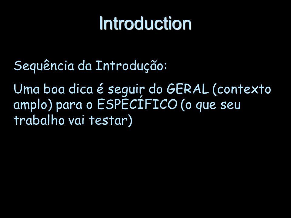 Introduction Sequência da Introdução:
