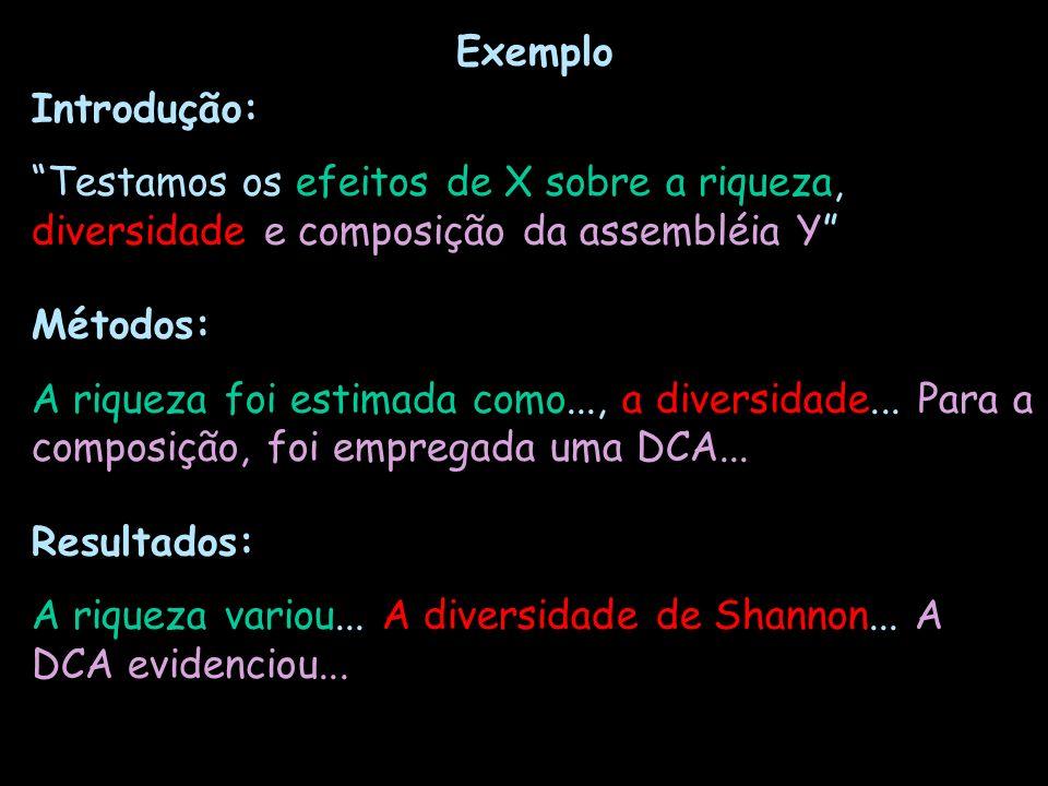 Exemplo Introdução: Testamos os efeitos de X sobre a riqueza, diversidade e composição da assembléia Y