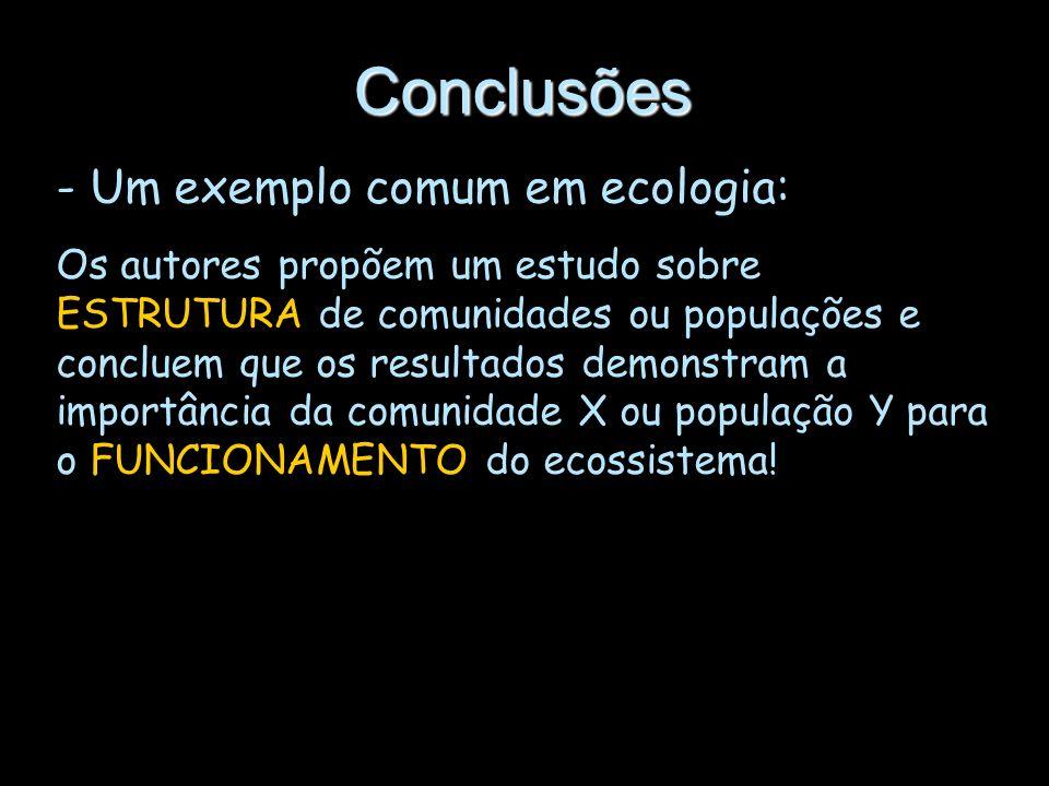 Conclusões Um exemplo comum em ecologia: