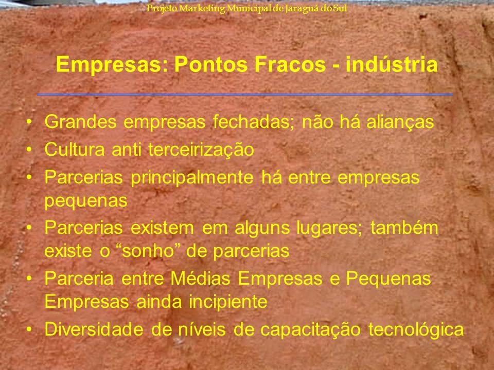 Empresas: Pontos Fracos - indústria