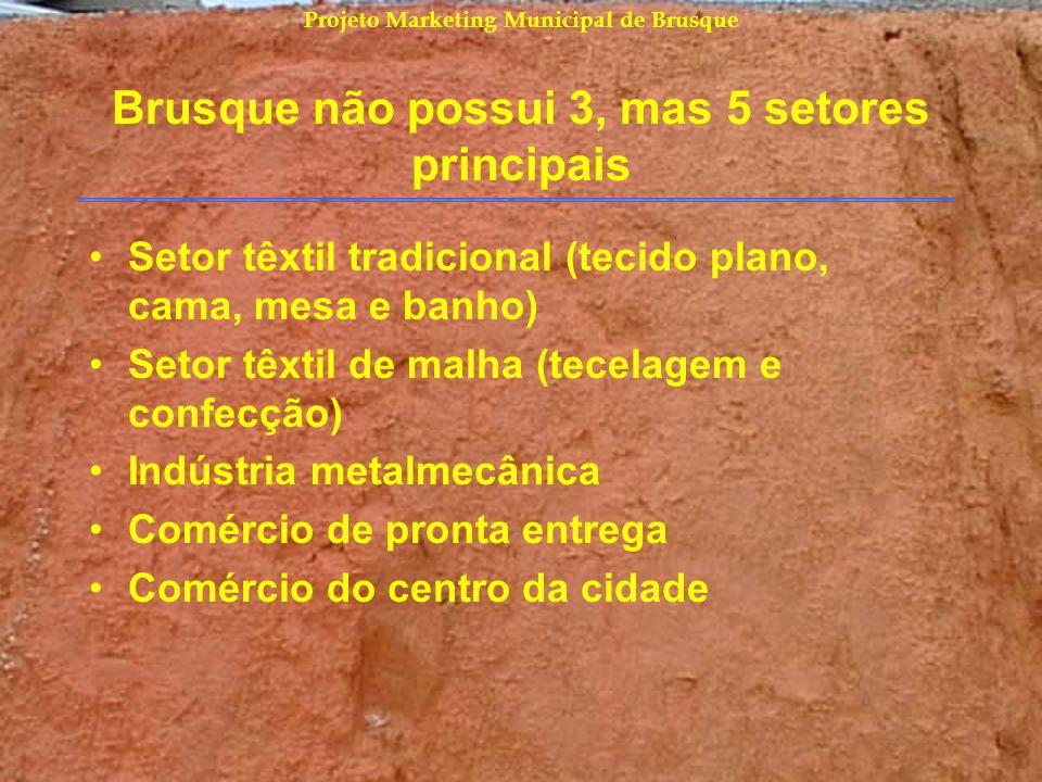 Brusque não possui 3, mas 5 setores principais