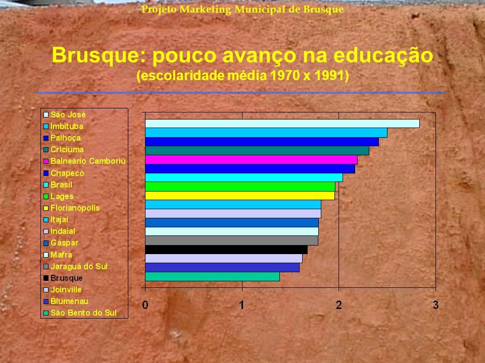 Brusque: pouco avanço na educação (escolaridade média 1970 x 1991)